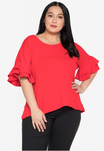 Timeless Manila red Dione Ruffle Blouse 540A8AAEEBE417GS_1