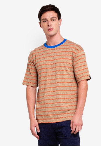 UniqTee brown Striped Tshirt With Contrasting Neck BA3DBAA8F652F2GS_1
