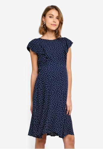 df7067c289de8 Seraphine navy Maternity Acacia Frill Detail Nursing Dress  43EFDAA77EF66AGS_1