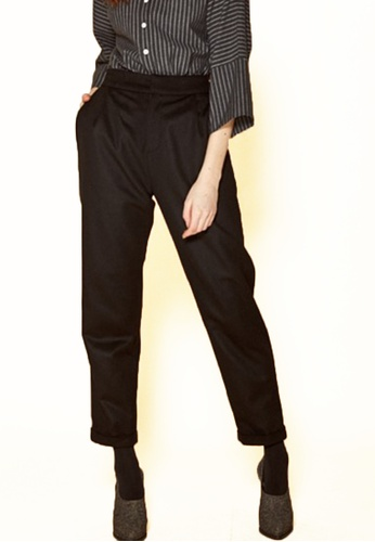 The K Story black Roll up Wool Pants A970EAA9EA1B7BGS_1