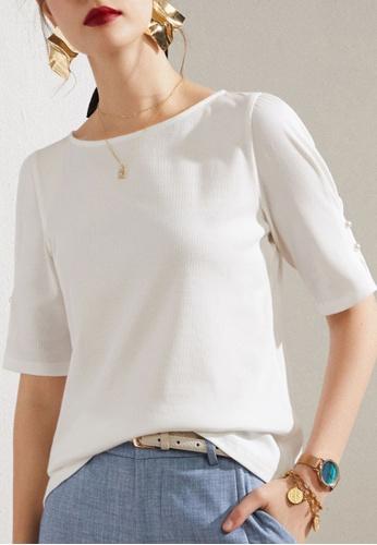 HAPPY FRIDAYS white Puff Mid Sleeve Blouse JW GW-J78 C4E75AAF369144GS_1