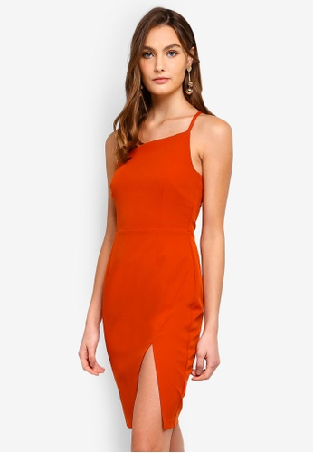 Vesper orange Tabby Asymmetric Midi Dress With One Strap 65CEDAAD4890F8GS_1
