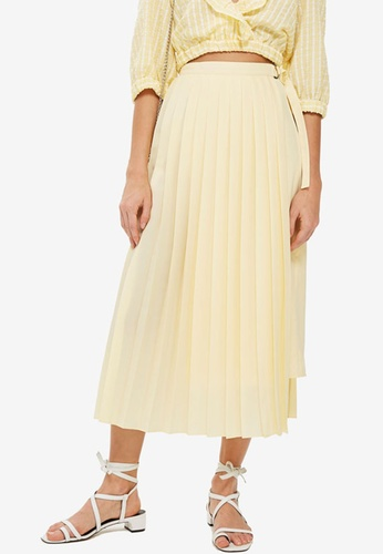 TOPSHOP yellow Asymmetric Pleat Midi Skirt 8B4BFAA55F27E7GS_1