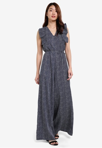 ZALORA navy Ruffle Front Jumpsuit With Tie Belt C565DAAF0A22CCGS_1