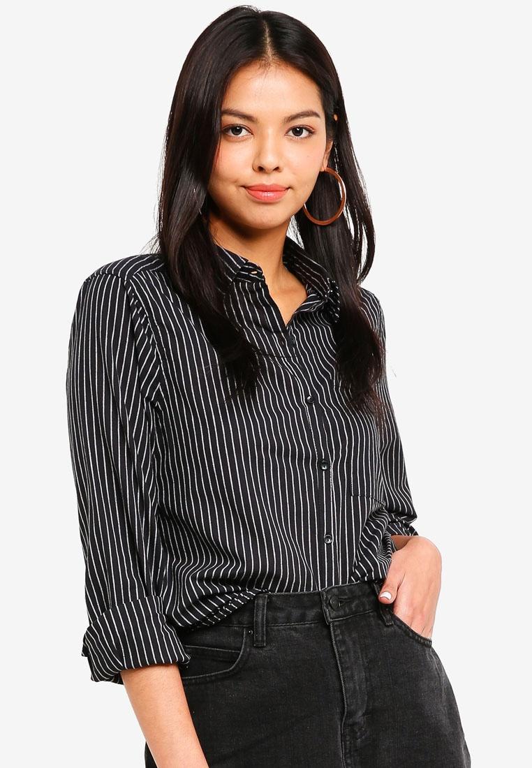 White Stripe Cotton White Shirt Casual On Black Steph 4AvxvISwq