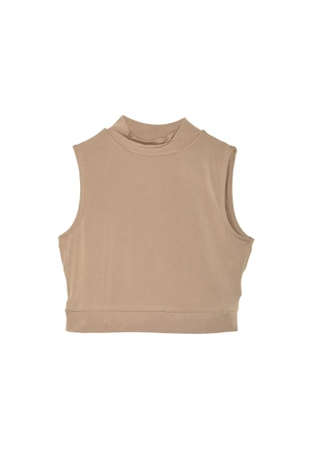 Trendyol beige Other Crop Knit Collar Blouse F348EAAA99F586GS_1