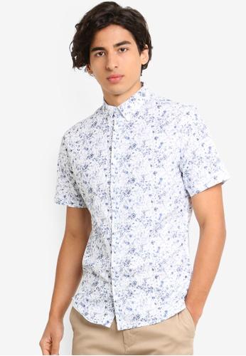 Burton Menswear London 白色 短袖花卉襯衫 468CDAAF1FFEB5GS_1