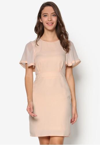 Emma 透視寬袖連身裙, 服zalora開箱飾, 知性女強人