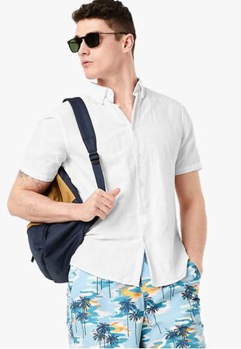 MARKS & SPENCER white Linen Blend Easy Iron Shirt 8549CAA08EA41BGS_1