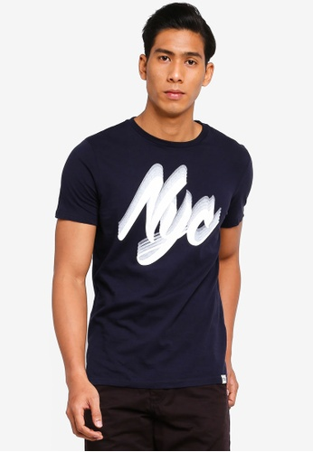 OVS 海軍藍色 印花T恤 3C5ADAA81A5FBDGS_1