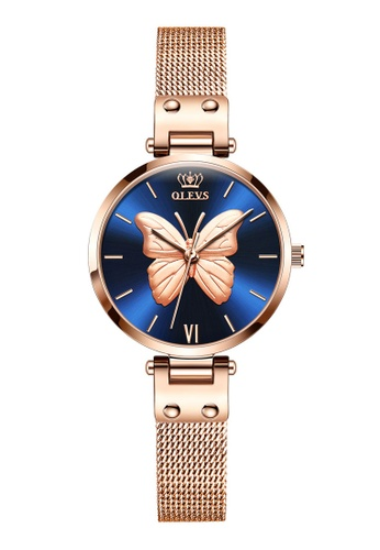 OLEVS multi Olevs Classic Embossed Butterfly Stainless Quartz Watch 16BD6AC481C6B2GS_1