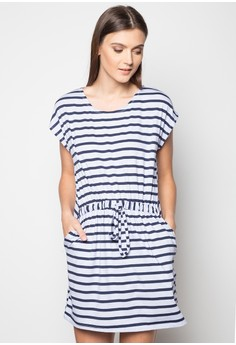 Striped Drawstring Dress with Pockets