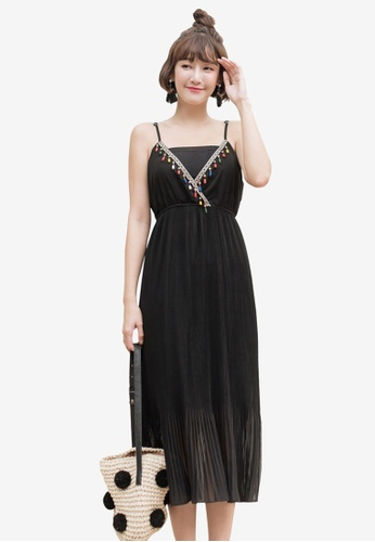 Tokichoi black Boho Deep V-Neck Cami Dress BBB84AAE8537B1GS_1