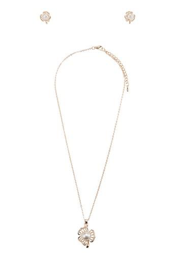 珍珠花卉吊墜首飾組合, 飾品esprit hk配件, 簡約優雅風格