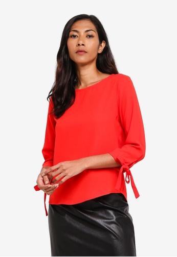 ZALORA BASICS red Basic Tie Sleeves Blouse 4FF1AAA5717120GS_1