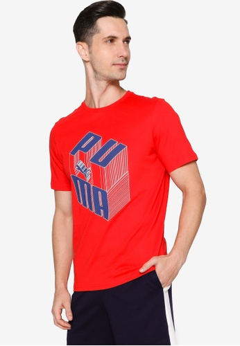 Puma red Puma Sportstyle Prime Logo Play Graphic Tee D05A4AA60658E1GS_1
