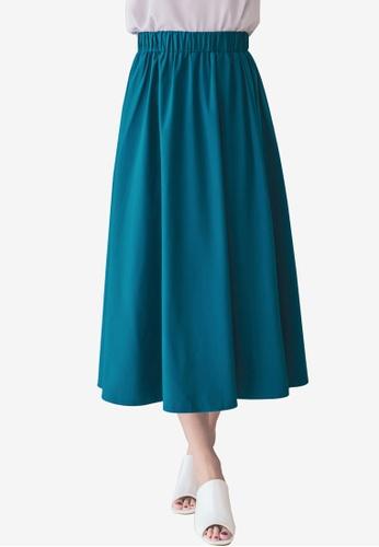 Tokichoi blue Flared Plain Maxi Skirts 3DC9BAA2E10EB8GS_1