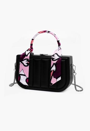Lara black Women's Stripes Embossed Leather Hand Bag Cross-body Bag - Black C9D9AAC4203A40GS_1