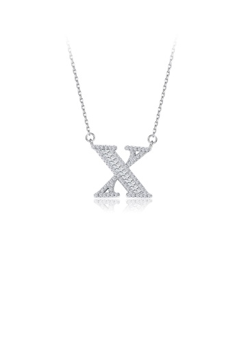 Glamorousky white 925 Sterling Silver Fashion Personality English Alphabet X Cubic Zircon Necklace F361AAC8F2C898GS_1