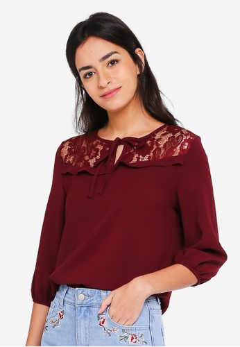 ZALORA red Lace Yoke Long Sleeves Top 19EF5AA9899960GS_1
