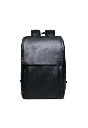 e732d8240b Lara black Buckle Zipper Fasten Bag Plain Travel Backpack for Men  94DF9AC89FC6EEGS_1