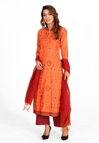 Le Reve red and orange and gold Le Reve Orange & Gold Salwar Kameez with Shawl 7C672AA0F4631BGS_1