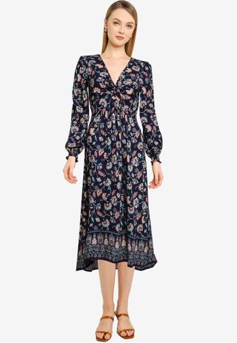 Springfield blue Long Floral Print Dress 8BAA7AAB6F33ADGS_1