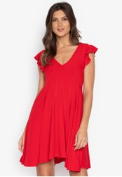 Ashley Collection red Deep V-neck Ruffle Sleeves Dress 3045BAA261D8F6GS_1