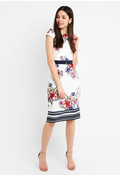 Dorothy Perkins Floral Scuba Belted Pencil S  99.90. Sizes 6 8 12 14 16 0006a087f