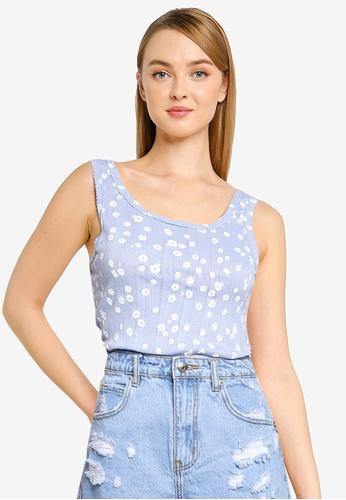 Cotton On blue Little Sister Pointelle Tank Top 3D285AA2DCBAF6GS_1