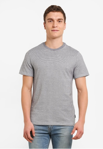 Burton Menswear London black Black And White Mini Grid Pattern Jacquard T-Shirt BU964AA0S9QLMY_1