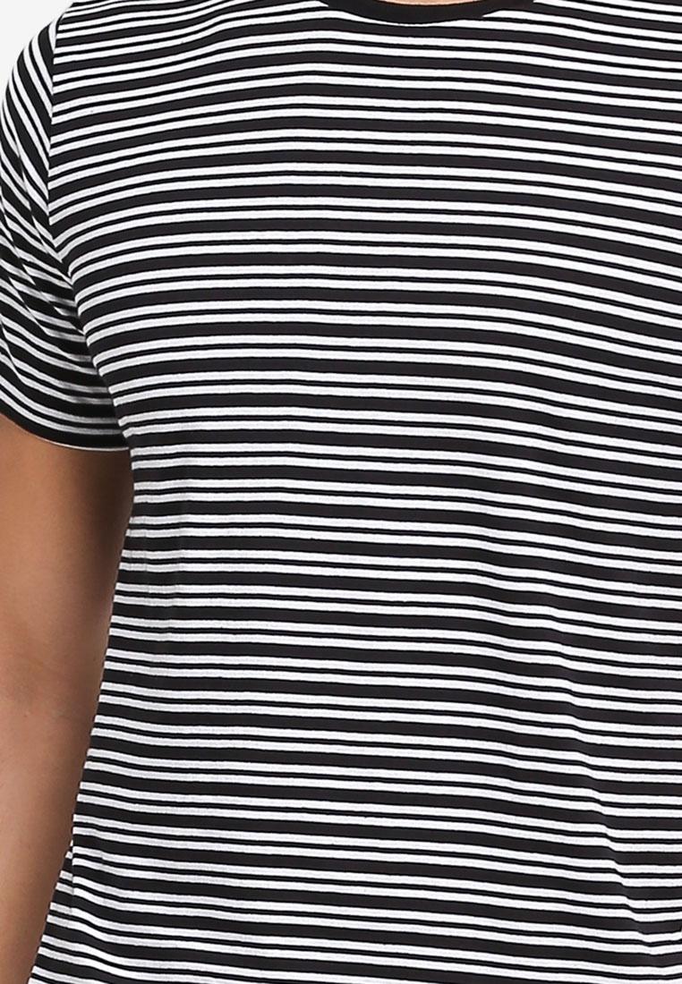 Premium On Crew TBar Black Stripe Tee White Cotton 84IHqd