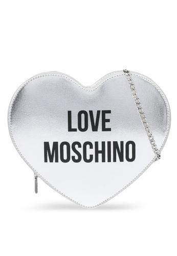 Love Moschino silver Heart Shaped Logo Crossbody Bag 37DD1ACB9BEB30GS_1