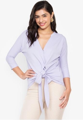 Wear Kris purple Karissa V Neck Cotton Pique Knit Top with Front Tie C5B6BAA0D4FAEEGS_1