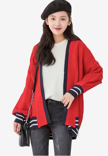 Shopsfashion red Loose Fit Cardigan 101D8AA897B855GS_1