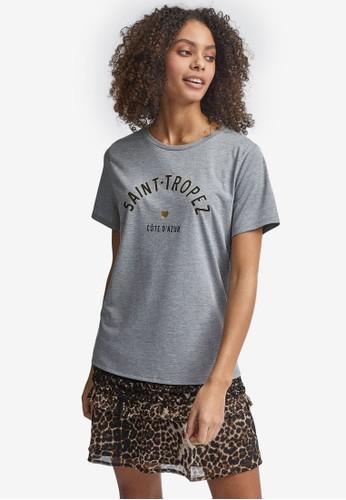 Dorothy Perkins grey Grey Saint Tropez Foil Logo T-Shirt FA292AAC81074CGS_1