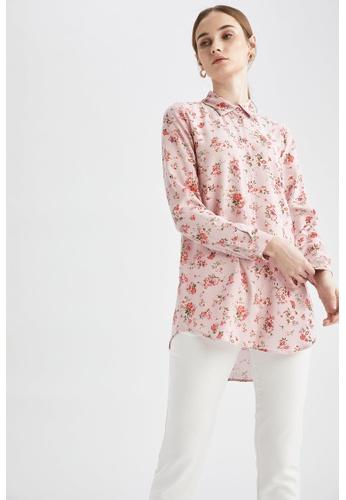 DeFacto pink Woman Woven Long Sleeve Tunic E08FDAA65C695CGS_1
