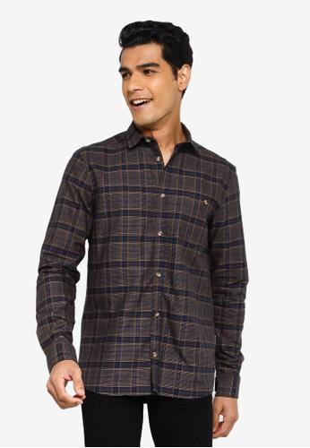!Solid black Checked Long Sleeve Shirt CA079AA6B71BB6GS_1