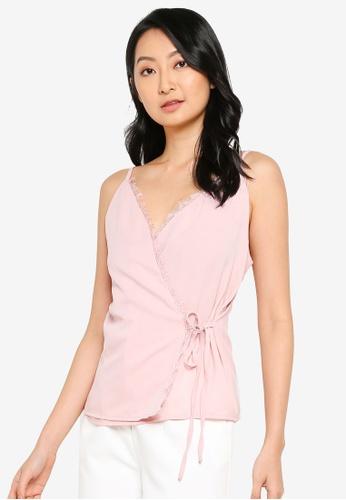 ZALORA BASICS pink Lace Trimming Wrap Top DE881AA4567158GS_1