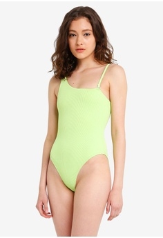 21d042cd42956 TOPSHOP green and multi Neon Ribbed One Shoulder Swimsuit 2785FUS3F41CACGS_1
