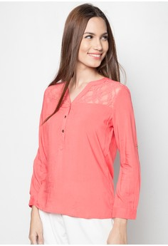 Long Sleeves with Lace Details Blouse