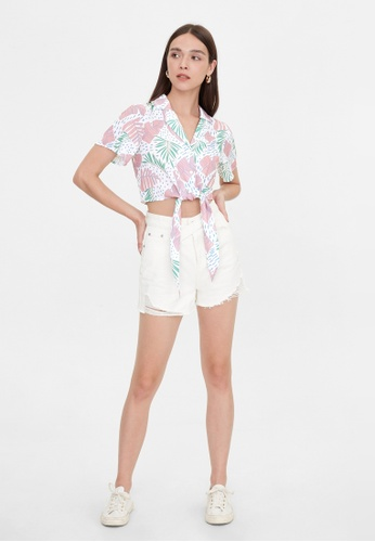 Pomelo pink Tie Front Leaf Print Top - Pink 4178CAA97C7DBEGS_1
