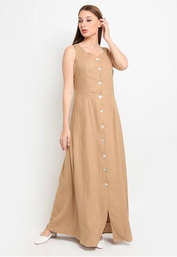 et cetera brown Linen Blend Hi-Lo Midi Dress 06CFDAA5534282GS_1