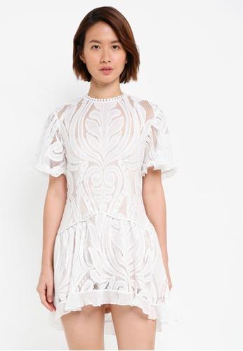 INDIKAH white Lace Skater Dress 9B4ACAA1F3E6BFGS_1