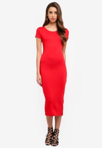 MISSGUIDED red Short Sleeve Crew Neck Midi Dress DE4AAAAB6D971FGS_1