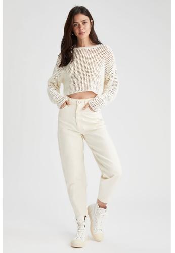 DeFacto beige High Waist Cotton Trousers 190D6AA48A0915GS_1