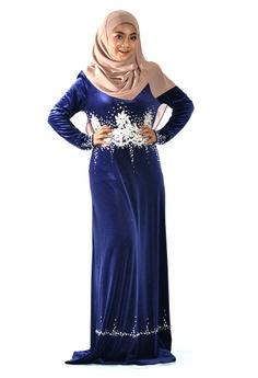 0a3ab05e9c Sweetheart blue Sweetheart Royal Blue Velvet Jubah Dress 2BFFCAA4AA38EFGS 1