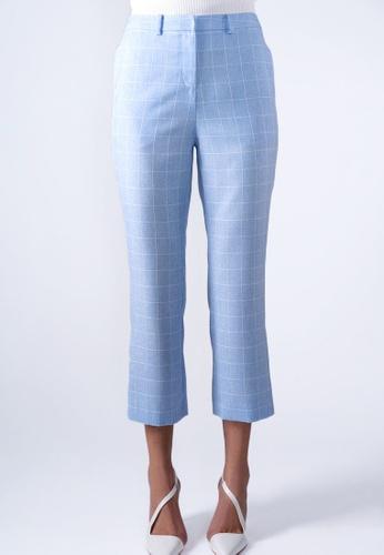 VIOLA blue BUTTON-SIDE-HEM CHECK PANTS CE93DAAB256F5BGS_1