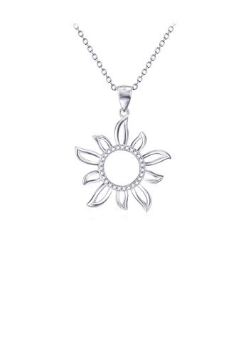 Glamorousky white 925 Sterling Silver Fashion Simple Sunflower Pendant with Cubic Zirconia and Necklace D6001AC534F91BGS_1