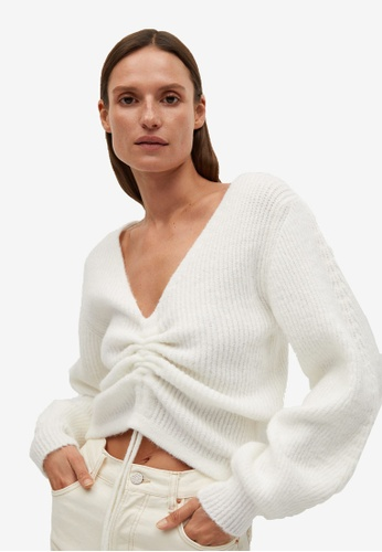 Mango white Ruched Detail Sweater 80943AA391E231GS_1